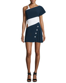 Colorblock Cady Cutout One-Arm Dress, Navy/White