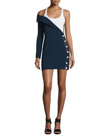 One-Arm Side-Button Colorblock Cady Dress, Navy/White