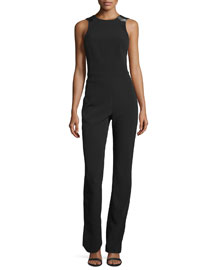 Open-Back Cady Jumpsuit, Black