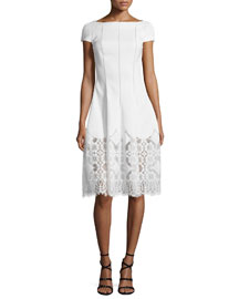 Kovalic Short-Sleeve Pique-Knit Dress, Ivory