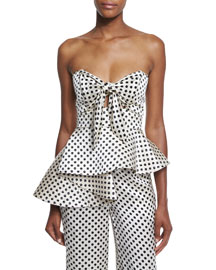 Strapless Polka Dot Silk Peplum Top, White/Black