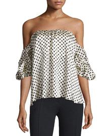 Tulum Polka Dot Off-the-Shoulder Top, White/Black