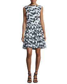 Korva Sleeveless Bateau-Neck A-Line Jacquard Dress, Black/White