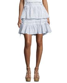 Smocked Pinstriped Ruffle Skirt, White/Black