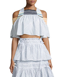 Cropped Pinstriped Smock Top, White/Black