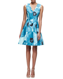 Sleeveless V-Neck Floral-Print Silk Dress, Blue/Multi