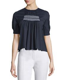 Short-Sleeve Smocked Babydoll Top, Navy