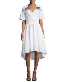 Smocked Short-Sleeve High-Low Dress, White