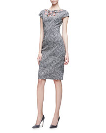 Embroidered Cap-Sleeve Sheath Dress