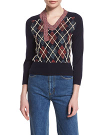 Embellished Patchwork Argyle Sweater, Navy