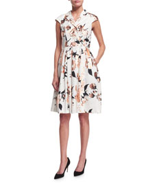 Jane Cap-Sleeve Floral-Print Shirtdress, Copper