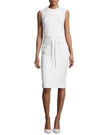 Sleeveless Sable Dress w/Trapunto Stitching, Chalk
