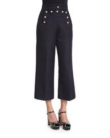 Swan-Embellished Cropped Sailor Pants, Navy