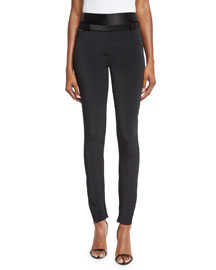 Satin-Trimmed Military Cady Pants, Black