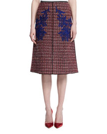 Embroidered Wool-Tweed A-Line Skirt, Red