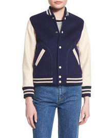 Long-Sleeve Varsity Jacket, Navy
