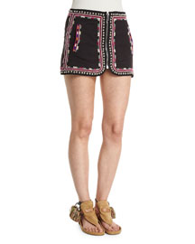 Embroidered Zip-Front Cotton Mini Skirt, Black