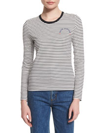 Long-Sleeve Striped Cotton Top, Black