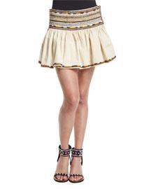 Embroidered Cotton Mini Skirt, Ecru
