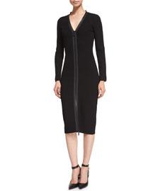 Long-Sleeve Zip-Front Compact Dress, Black