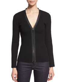 Compact-Knit Zip-Front Cardigan, Black