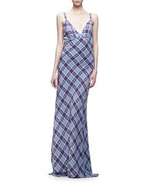 Spaghetti-Strap Plaid Silk Gown, Blue