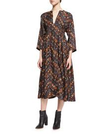 3/4-Sleeve Printed Silk Midi Dress, Black