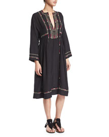 Natsi Long-Sleeve Embroidered Silk Tunic Dress, Black