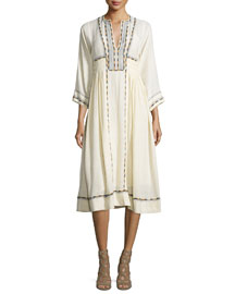 Natsi Embroidered Silk Tunic Dress, Ecru