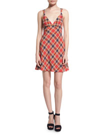 Sleeveless Plaid Silk Mini Dress, Red
