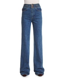 Wide-Leg Cotton Denim Jeans with Star