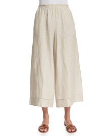 Cropped Wide-Leg Linen Pants, Beige