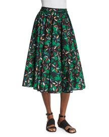 Printed Cotton A-Line Skirt
