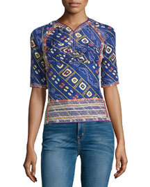 Printed Half-Sleeve Open-Back Top, Blue