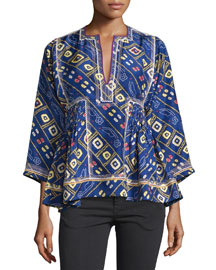 Embroidered Silk Tunic Top, Blue