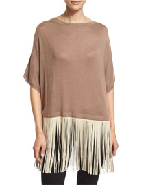 Leather-Fringed Knit Poncho Top, Tan