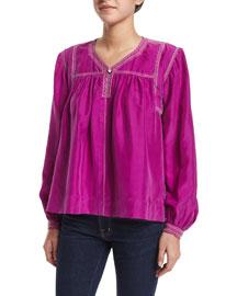 Long-Sleeve Beaded Silk Blouse, Fuchsia