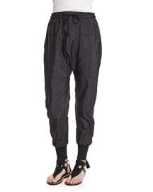 Tech Fabric Drawstring Jogger Pants, Black
