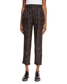 Printed Silk Jogger Pants, Black