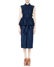 Dalai Sleeveless Peplum Shirtdress, Navy