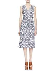 Danae Knot-Print Cotton Wrap Dress, White/Navy