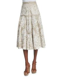 Floral-Embroidered Linen A-Line Skirt, Beige