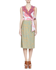Darby Sleeveless Mixed-Print Wrap Dress, Marigold/Petrol