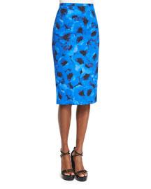Poppy-Print Matelasse Pencil Skirt, Black/Blue