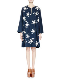 Deira Fireball-Embroidered Tunic Dress, Navy