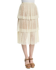 Tiered Lace Midi Skirt, White