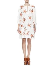 Deira Fireball-Embroidered Tunic Dress, White/Gold