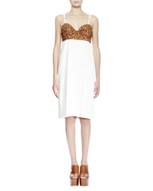 Dal Sequined Bustier Combo Dress, White/Gold