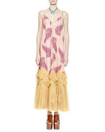 Dali Sleeveless Wing-Print Maxi Cami Dress, Violet