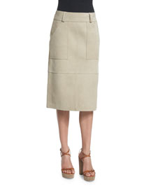 Patched Suede Knee-Length Skirt, Beige